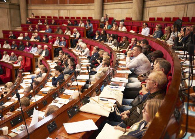 A l'hémicycle du palais d'Iéna, lors du deuxième weekend de la Convention citoyenne pour le climat